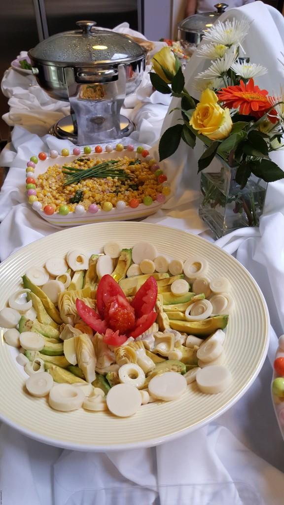 Avocado, Hearts of Palm and Artichoke Salad with Lemon Vinaigrette and Corn Salad withBasil
